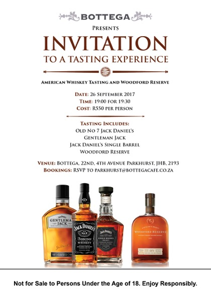 American Whiskey Woodford Reserve Tasting Invitation Tuesday 26